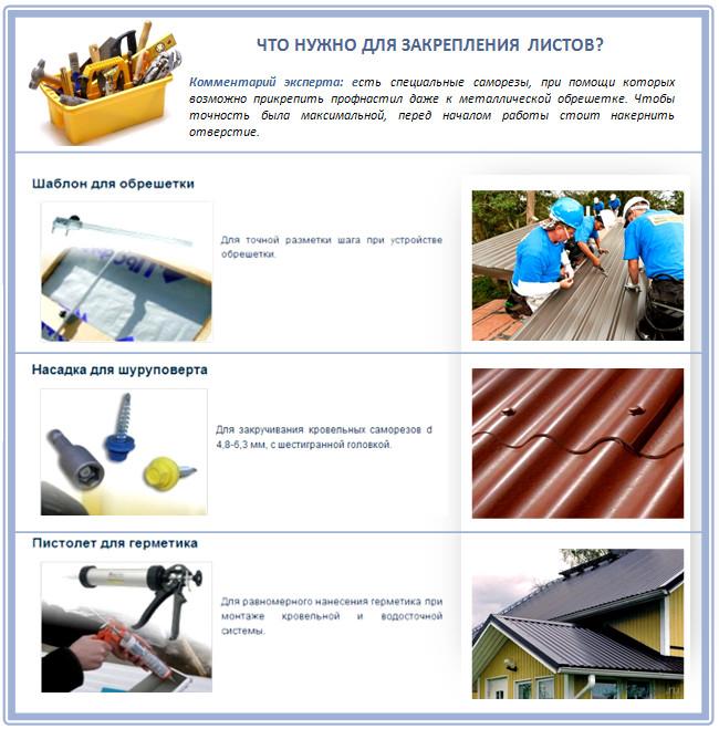 Монтаж листов металлопрофиля на крышу