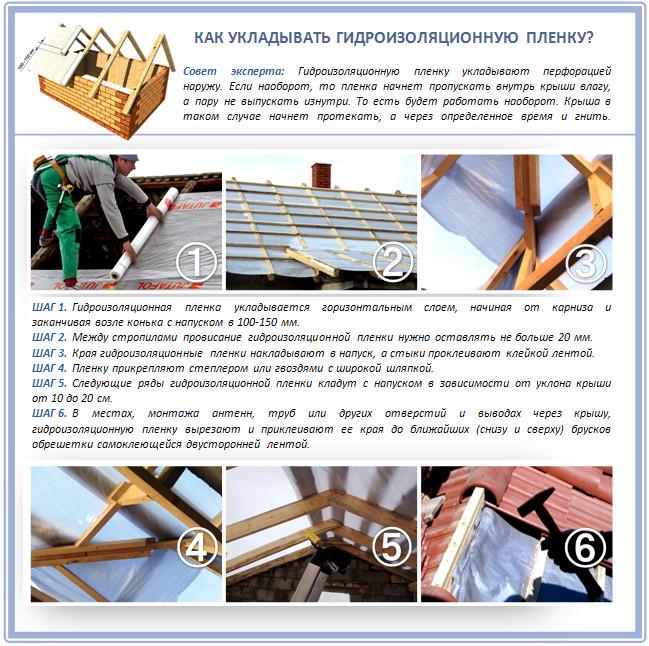 Монтаж полиэтиленовой пленки на крышу