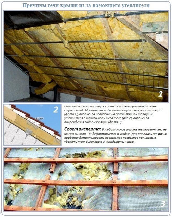 Промокшая теплоизоляция диктует необходимость в проведении ремонта крыши