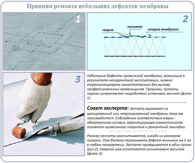 Ремонт мембранной мягкой кровли посредством установки заплатки
