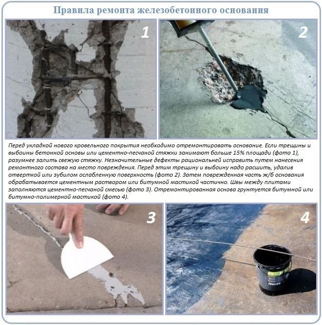 Как сделать ремонт цементно-песчаной основы под мягкую кровлю