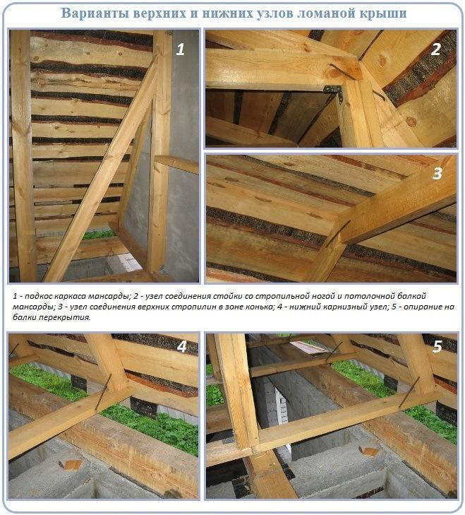 Узлы стропильной системы ломаной крыши для устройства мансарды
