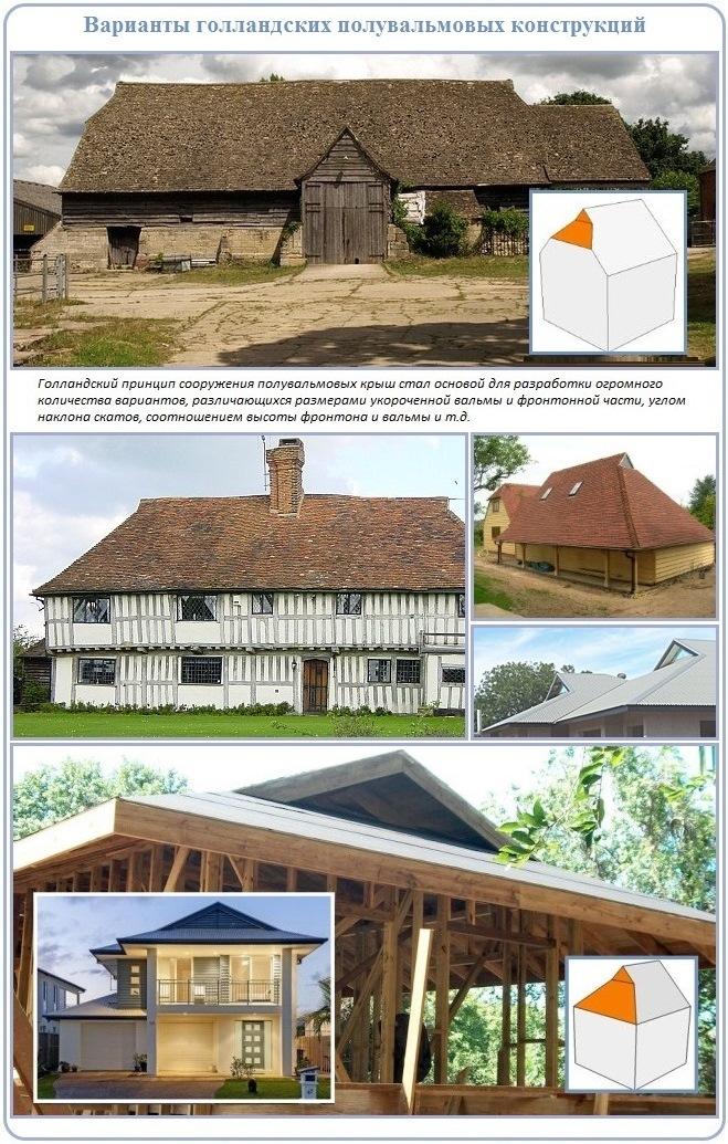 Полувальмовые крыши с единым принципом строительства стропильной системы