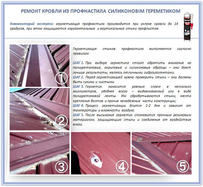 Ремонт металлической крыши герметиками