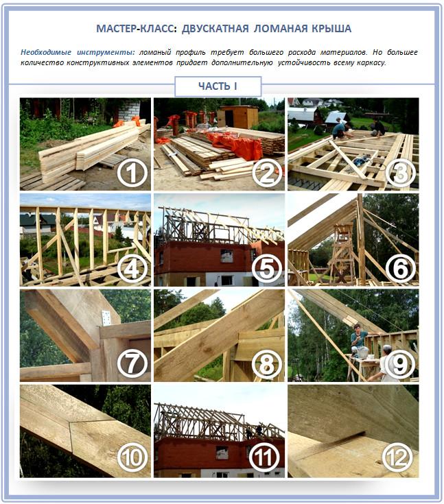 Строительство двускатной ломаной крыши