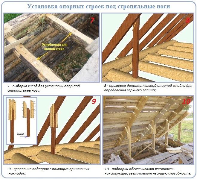 Как сделать дополнительные опоры стропильной системы двухскатной крыши