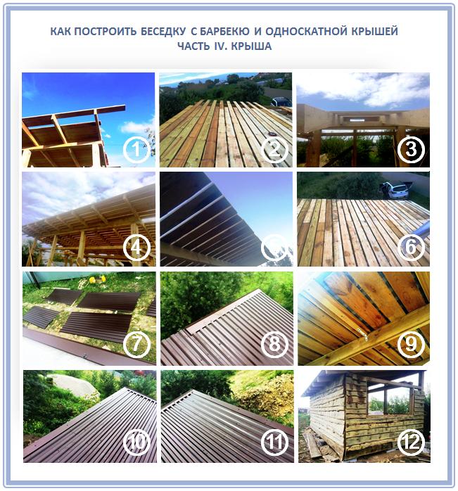 Как построить односкатную крышу из профнастила?