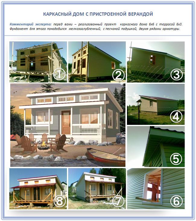 Каркасный дом с пристроенной верандой и односкатной крышей