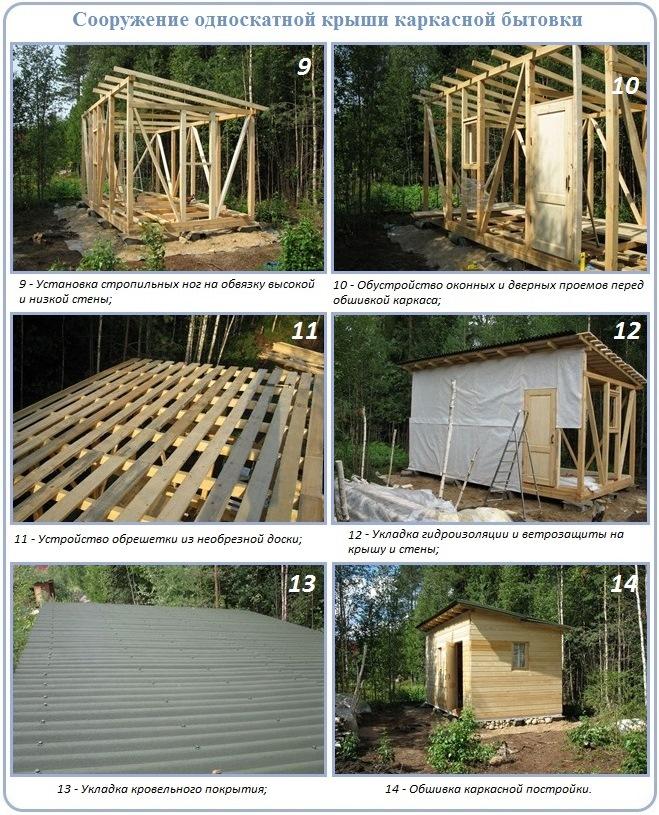 Как построить туалет с односкатной крышей поэтапно