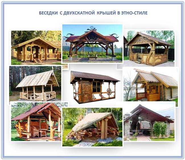 Дизайн двухскатной крыши беседки