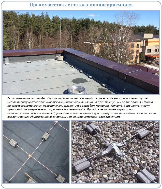 Молниеприемная сетка - часть молниеотвода плоской крыши