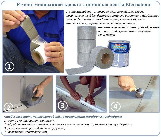 Ремонт мембранной кровли с помощью ленты Eternabond