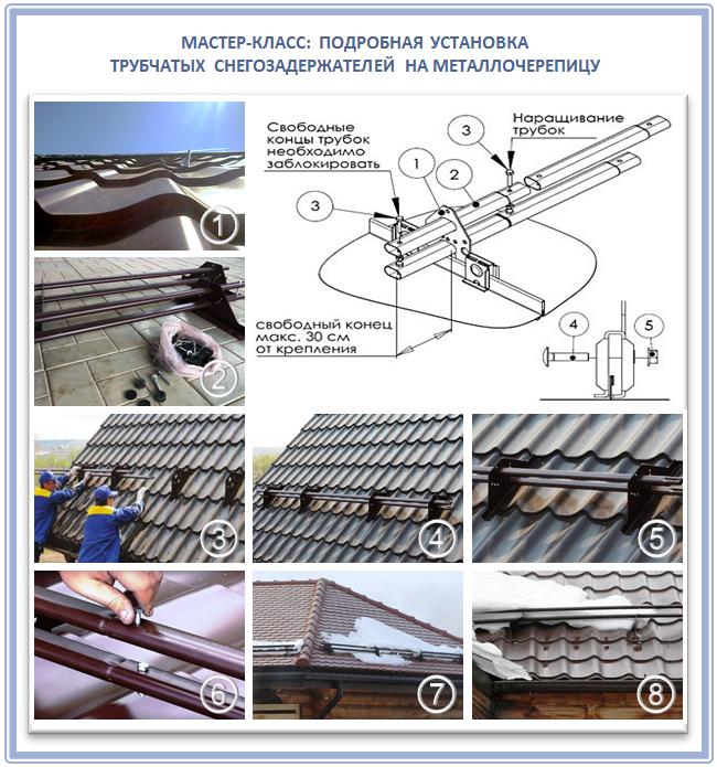 Подробная установка снегоуловителей на металлочерепицу