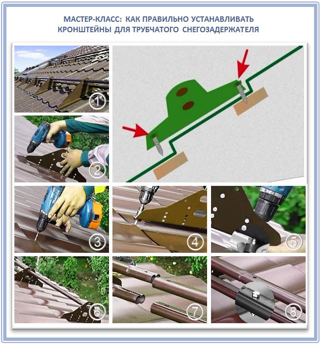 Как установить трубчатые снегозадержатели