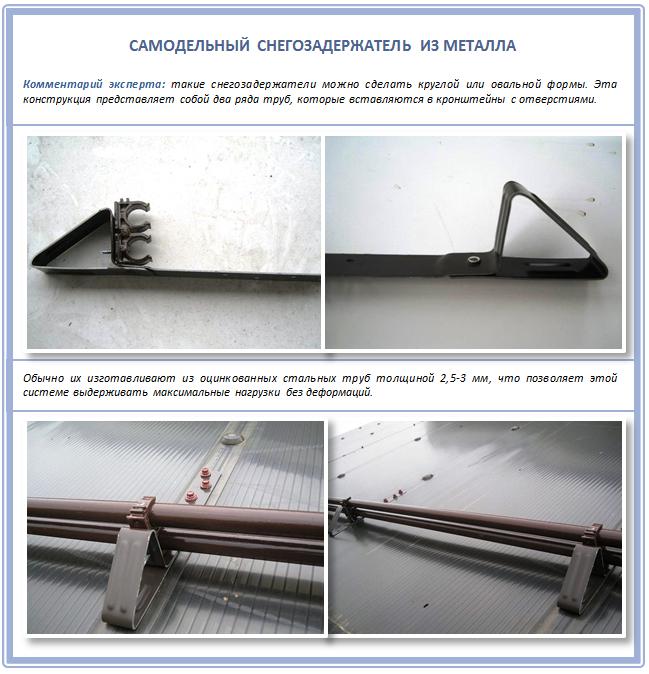 Металлический самодельный снегозадержатель