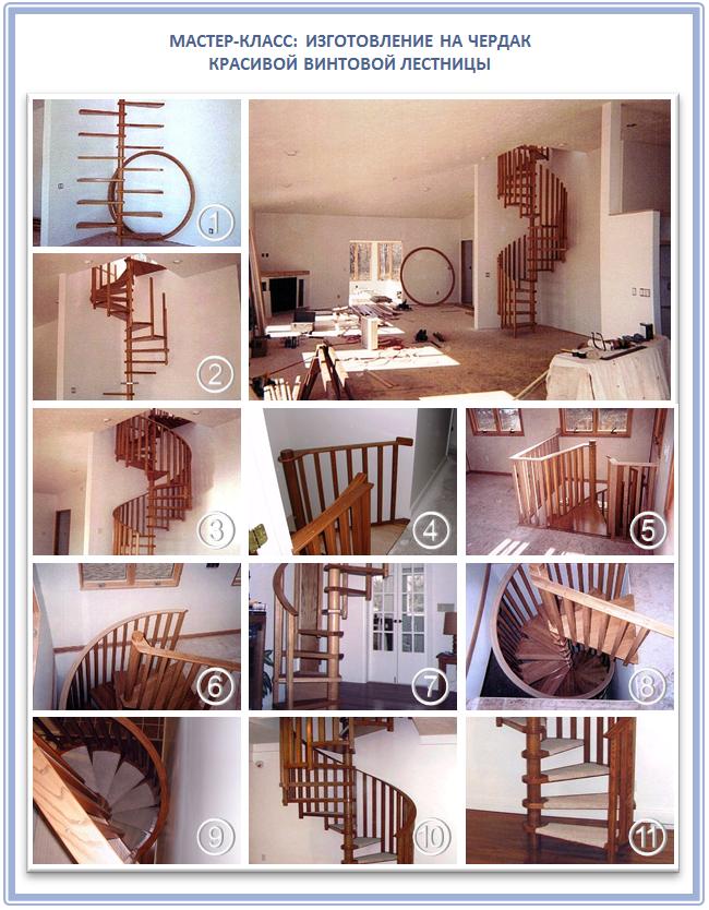 Винтовая лестница для чердака своими руками