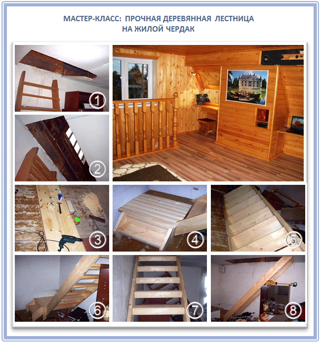 Деревянная чердачная лестница своими руками