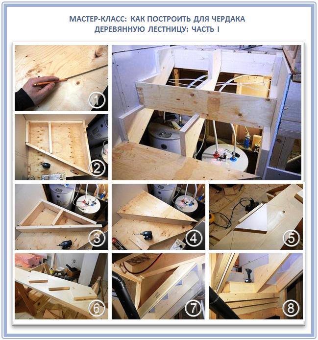 Как сделать деревянную маршевую лестницу на чердак?