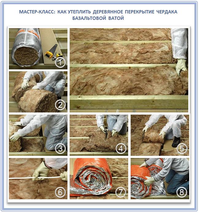 Утепление деревянного чердака базальтовой ватой своими руками