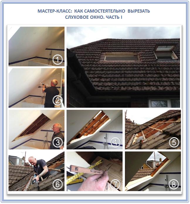 Как вырезать чердачное окно в крыше