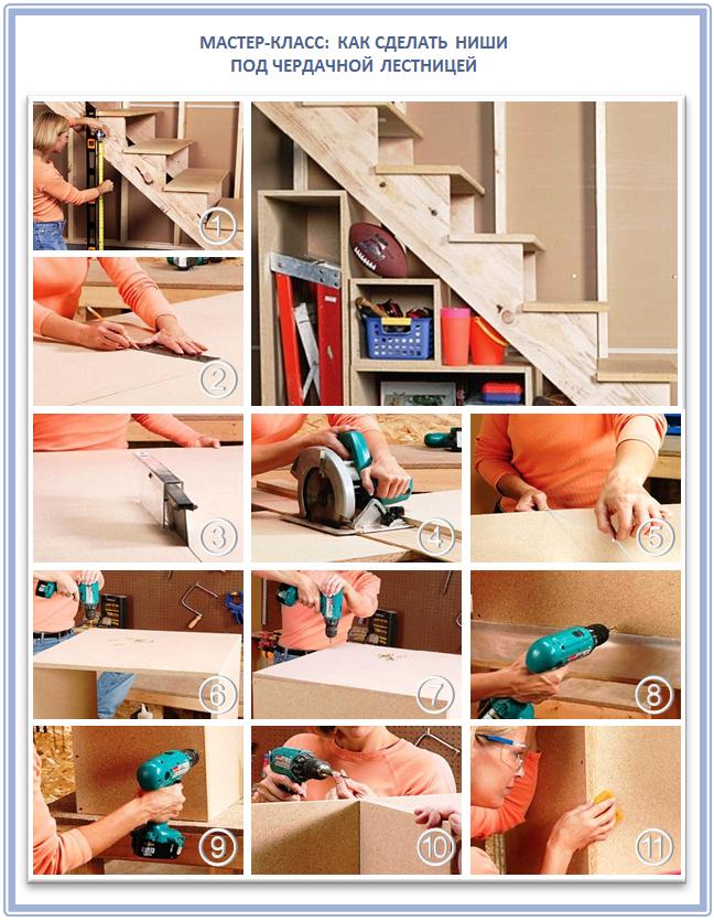 Как сделать под лестницей ниши для хранения вещей?