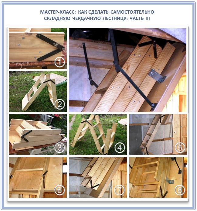 Изготовление складной чердачной лестницы своими руками