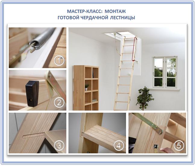 Монтаж готовой лестницы для чердака