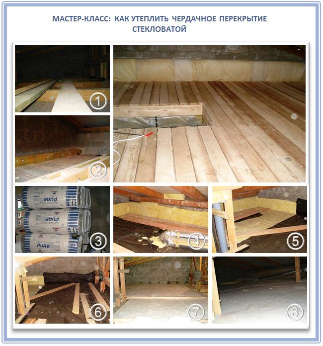 Как утеплитель чердачного перекрытия по деревянным балкам