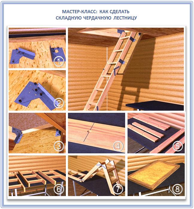 Как сделать складную лестницу своими руками