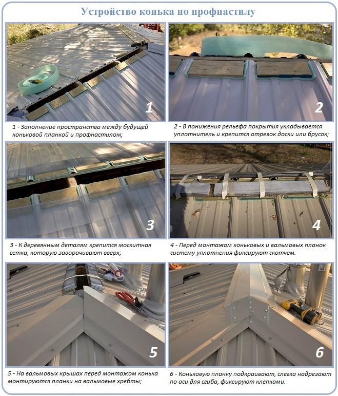 Как сделать конек крыши с профнастилом своими руками