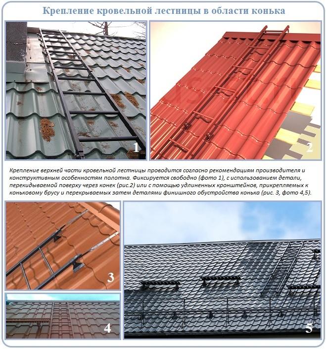 Как закрепить лестницу для крыши в районе конька