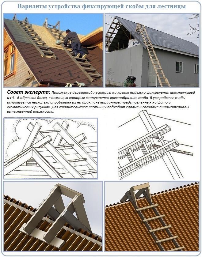 Лестница с деревянной скобой для кровли крыши