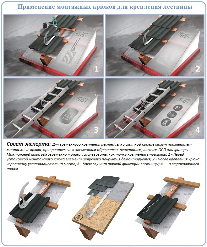 Как временно закрепить лестницу на крыше для кровли