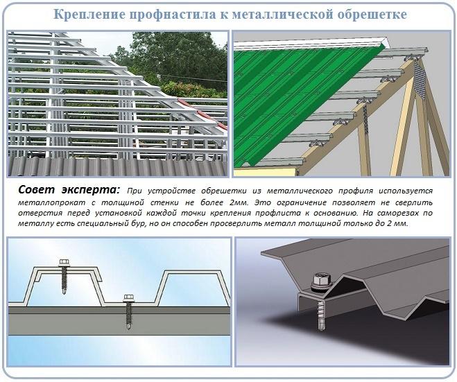 Устройство металлической обрешетки крыши под профнастил