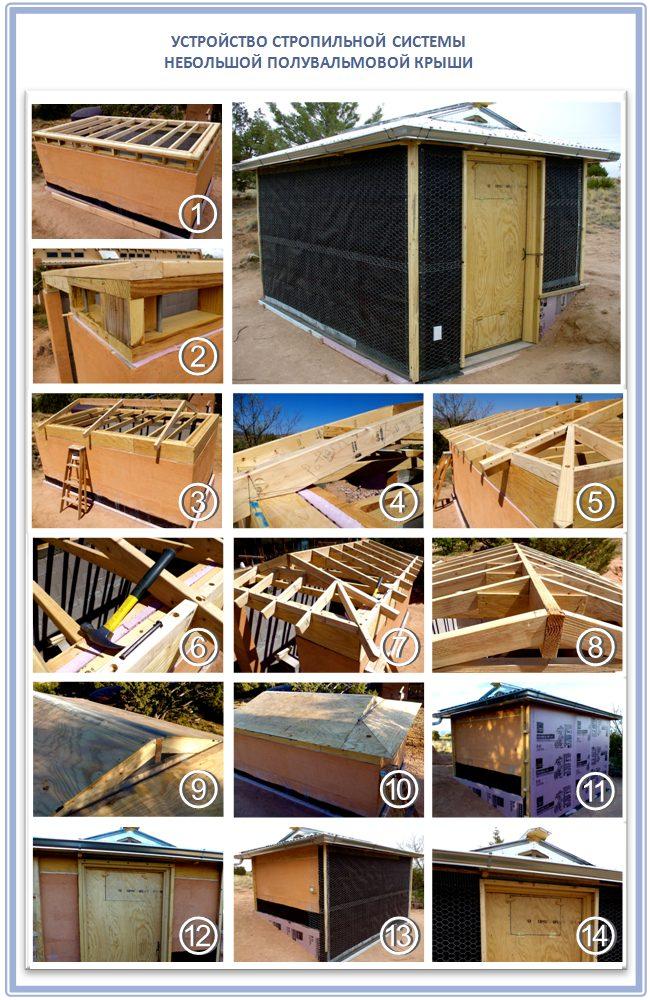 Строительство полувальмовой крыши для закрытой беседки