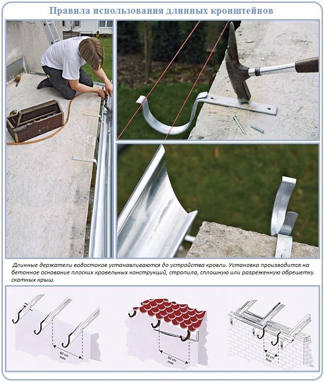 Как монтировать длинный держатель для желоба водостока