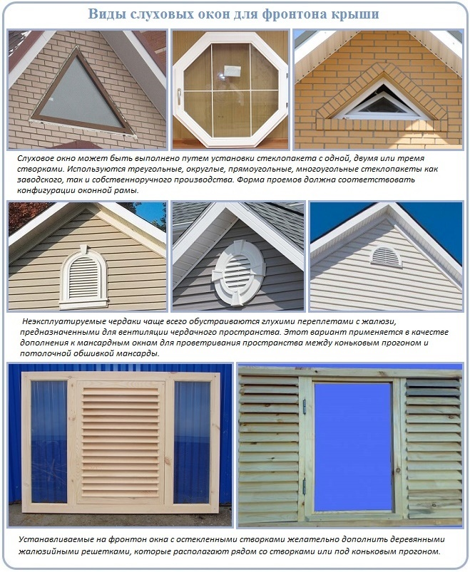 Вентиляционные окна на фронтоне крыши
