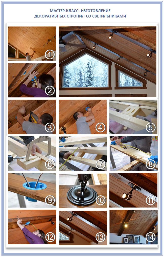 Декоративные стропила на потолок со встроенными светильниками