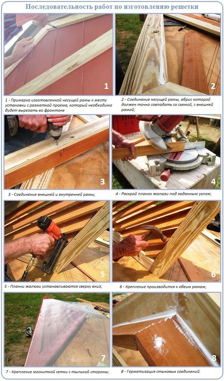 Процесс изготовления решетки вентиляции для фронтона