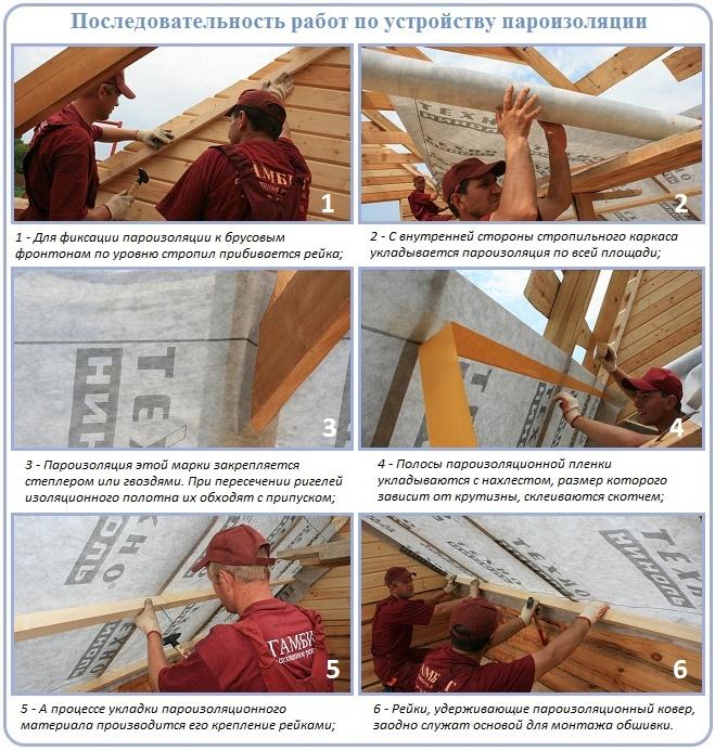 Последовательность работ по укладке пароизоляции на крышу
