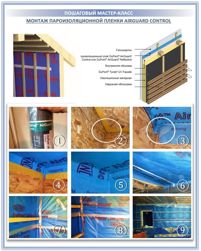 Монтаж пароизоляционной мембраны Тайвек на стены и крышу