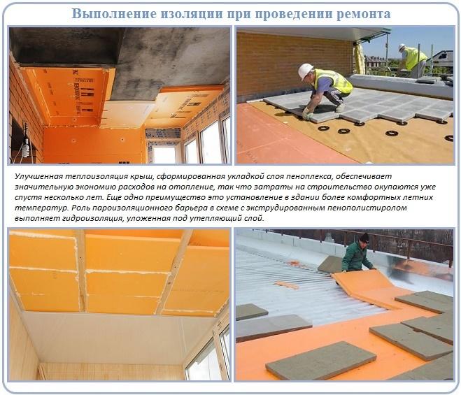 Варианты ремонта крыш с использованием пеноплекса