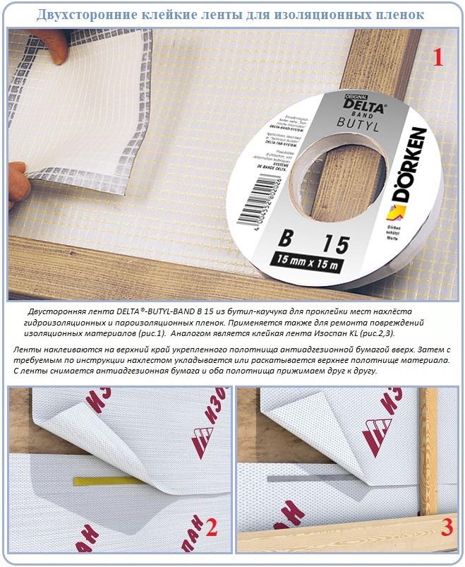 Двухсторонняя соединительная лента для устройства пароизоляции
