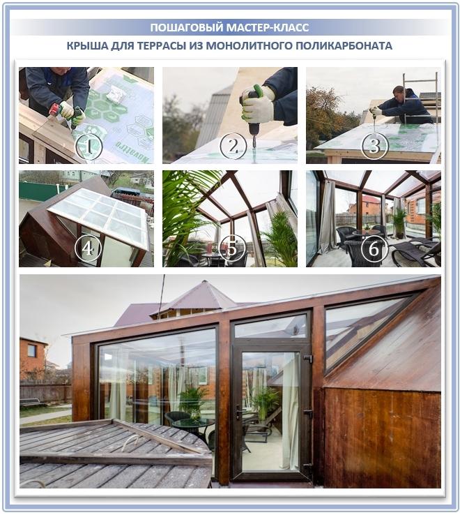 Монтаж крыши из сотового поликарбоната на террасу
