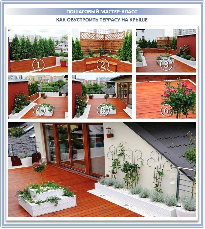 Обустройство красивого террасного пола прямо на крыше дома