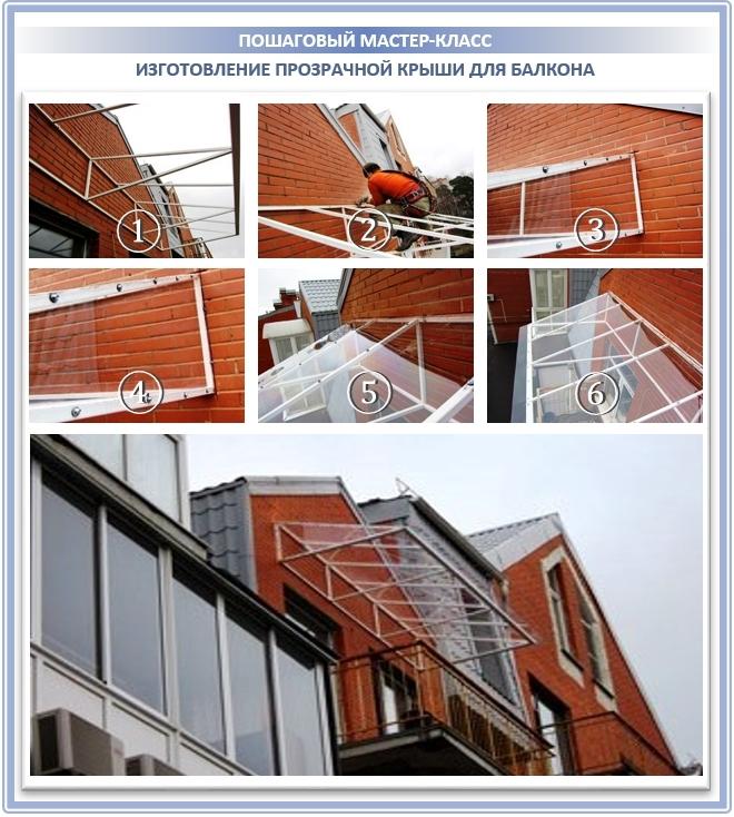 Прозрачная крыша для балкона на последнем этаже