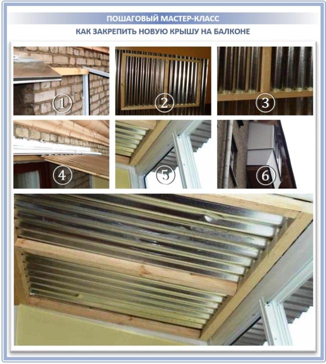 Как самостоятельно закрепить новую крышу на балконе?