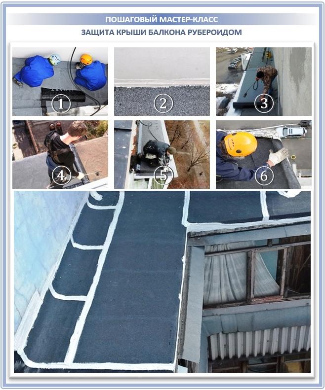 Защита крыши балкона рубероидом и его аналогами