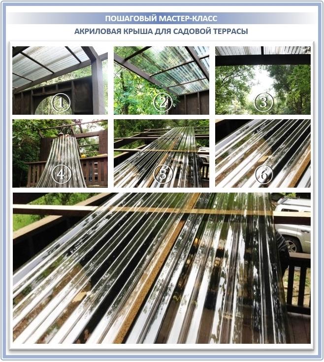 Акриловая крыша из органического стекла для строительства террасы