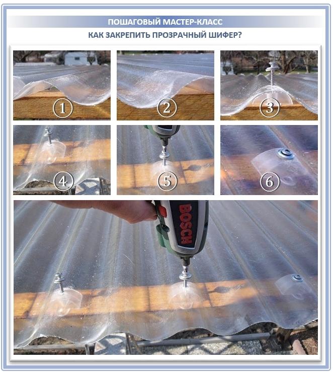 Как закрепить прозрачный волновой шифер?